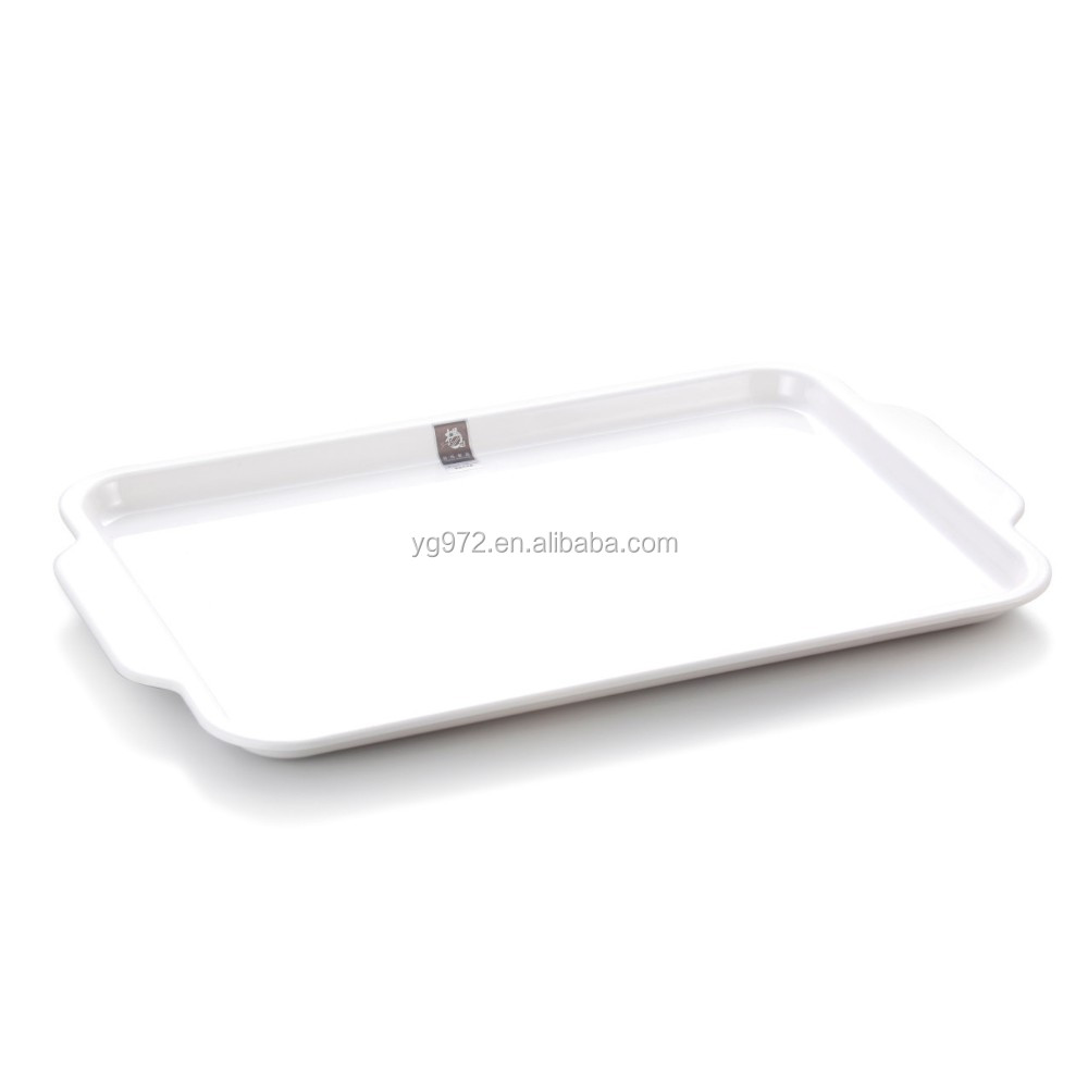White Rectangle Melamine Serving Tray with Two Handles