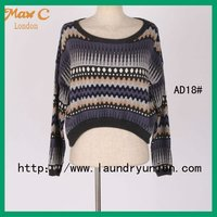 2012 Funny striped long sleeveless scropped sweaters woman AD18#