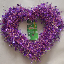 New Elegant Purple Rainbow PET/PVC/OPP Heart shape Tinsel Garland For Valentine's Day Decorations