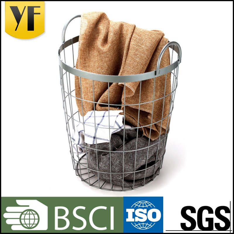 Foldable handle deep stainless steel storage basket