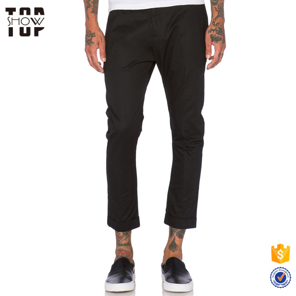 Dongguan clothing custom new style black cuffed hem wholesale chino pants mens