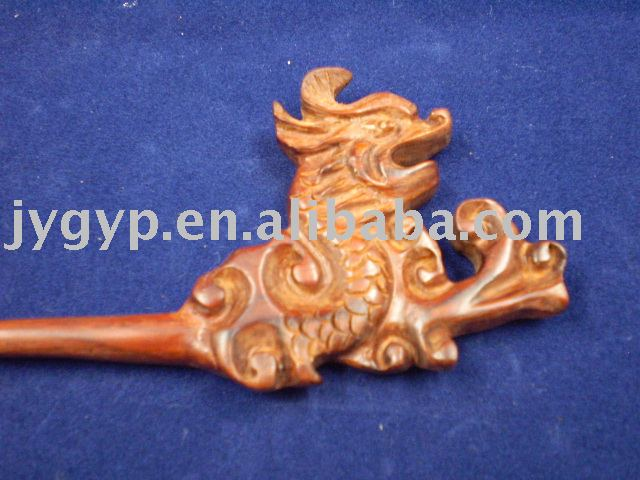 chinese dragon carved wooden hairpin