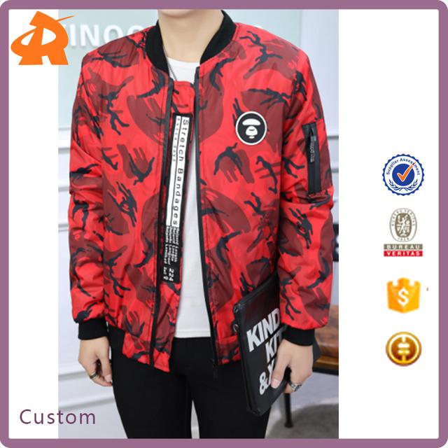 wholesale 2017 men 's round neck plus size 100% cotton half zip camouflage winter jacket