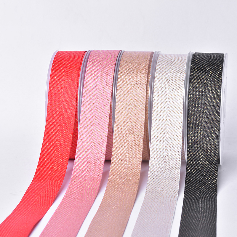 Brand OEM black grosgrain gold purl Twill gift packaging colour ribbons