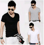 Mens Fashion Slim Fit Blank V-neck T Shirt Wholesale