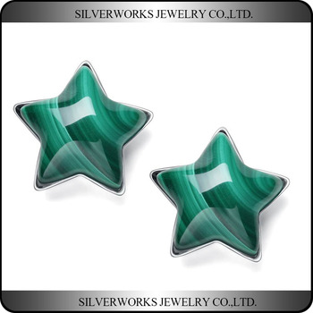 Cute 925 Sterling Silver Green Pentacle Banded Agate Stud Earrings