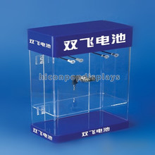Durable Lighting Supermarket Cell Phone Battery Retail Countertop Clear Acrylic Display Showcase