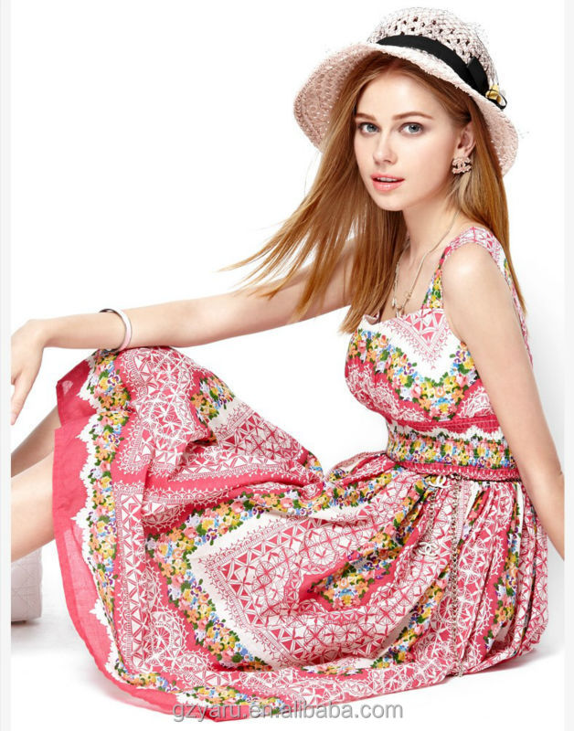 Fashion new designs rayon cotton summer dresses women's clothing