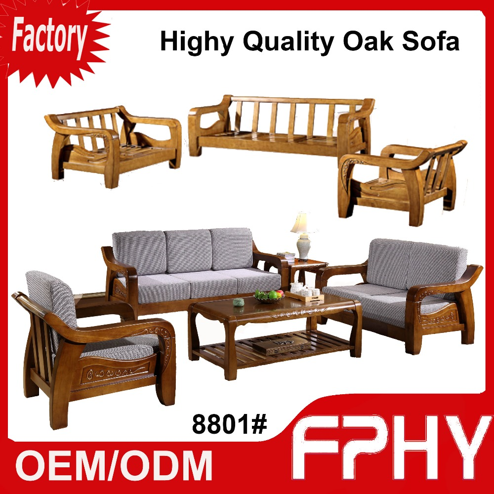 FPHY 8801# Oak Solid Wood Frame fabrics Cushion Sectional sofa set designs modern l shape sofa