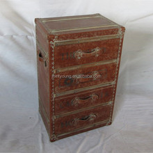 antique brown vintage storage trunk with four drawers