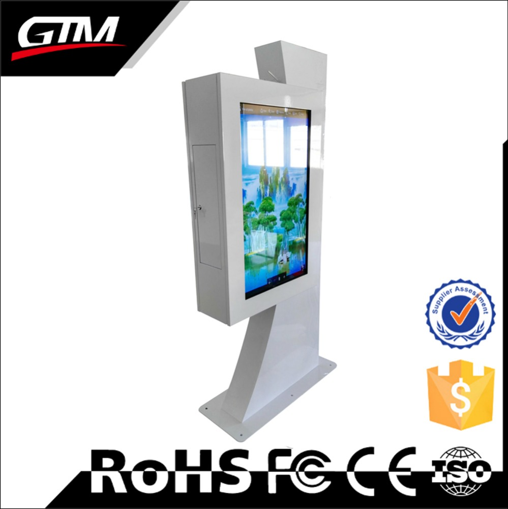 "42"" touch floor stand mounted double screen display digital Windows OS network wifi Touch display interactive touch screen kiosk"