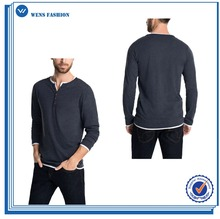 Hot Selling Fake Two Pieces Henley Collar 100 Cotton Henley Shirts for Men