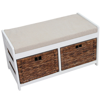 Wooden White Wicker Drawers Basket Woven Cheap Shoes Cabinet With Seat