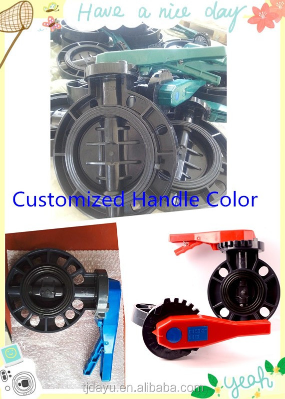 upvc/ pvc plastic butterfly valve wafer handle flanged type