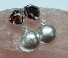 Garnet Rough Prong 925 Sterling Silver Gemstone Earrings, 925 Sterling Silver Gemstone Earrings, Rough Gemstone Earrings