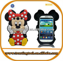 3D cartoon cute minnie silicone case for samsung galaxy S3 Note 2