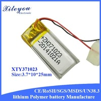 Custom XTY371023 60mah 3.7v Rechargeable Bluetooth Transmitter Small Lithium Polymer Battery