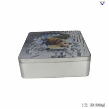 Cute tinplate material square metal cookie tin cans