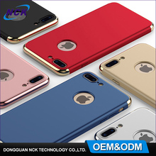 Free sample 360 degree protector mobile phone cover, custom plating 3 in 1 pc phone case for iphone 6 7 plus