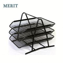 Iron Metal Engraving White Office Stationry A4 Paper File Tray For Promotion