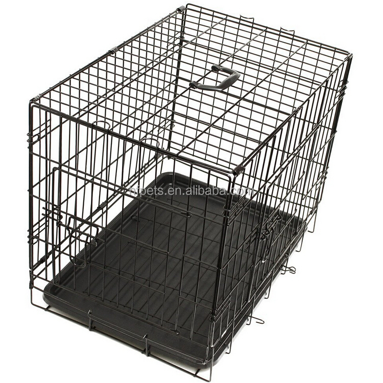 Black Plastic Tray Folding Metal Dog Crate
