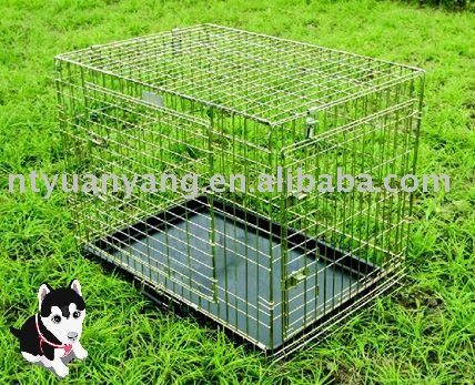 cheap double door folding wire pet cage metal dog crate new