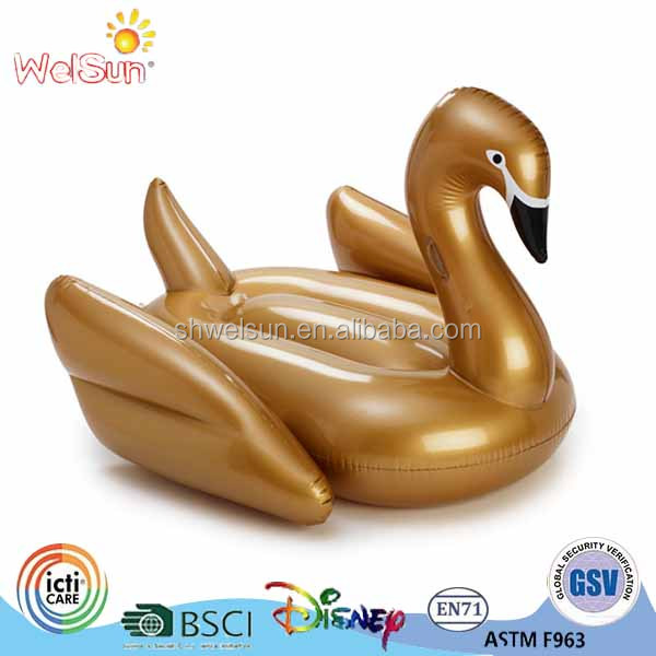 190cm length gold Giant Ride on pool float inflable Giant swan