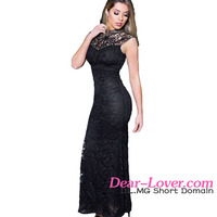 Sex Black Lace Sleeveless Long Mermaid Evening Party Wear Gown