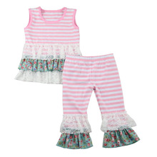 2017 Hot Sale flower Baby Clothes Set Children's Boutique Clothing Cute pink Tops and capri sets Baby Girls Outfit