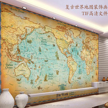 No pollution hot seller vinyl wallpaper world map magic color for kids mural customize