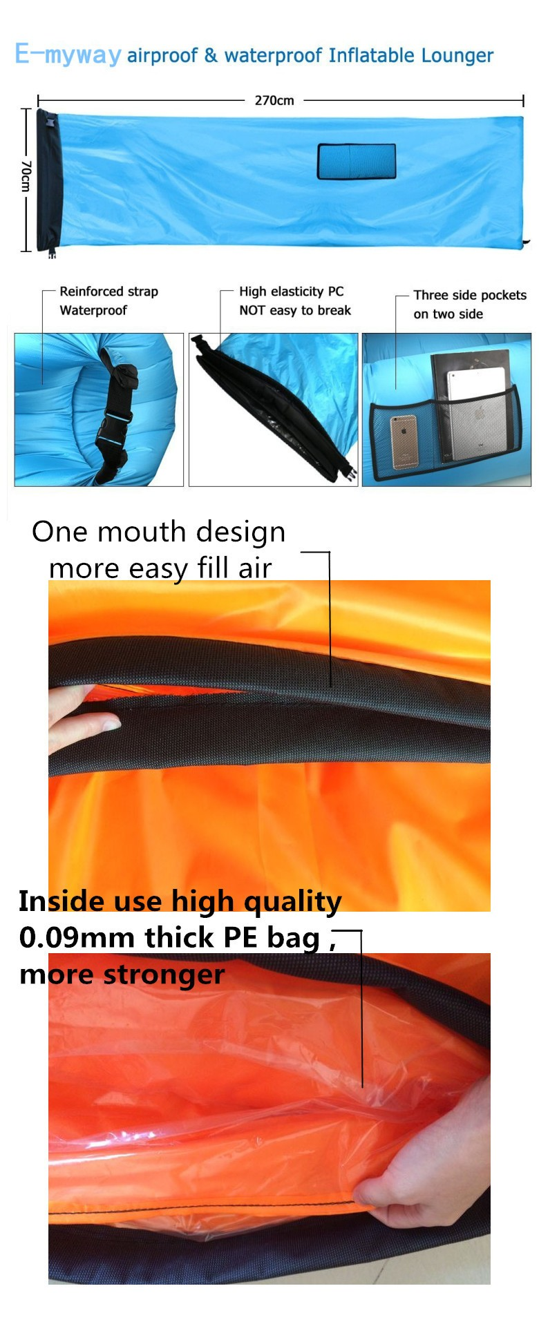 2018 Newest Design Nylon Inflating Airsofa, 10 Seconds Complete Lightweight Warm Weather Sleeping Bag/