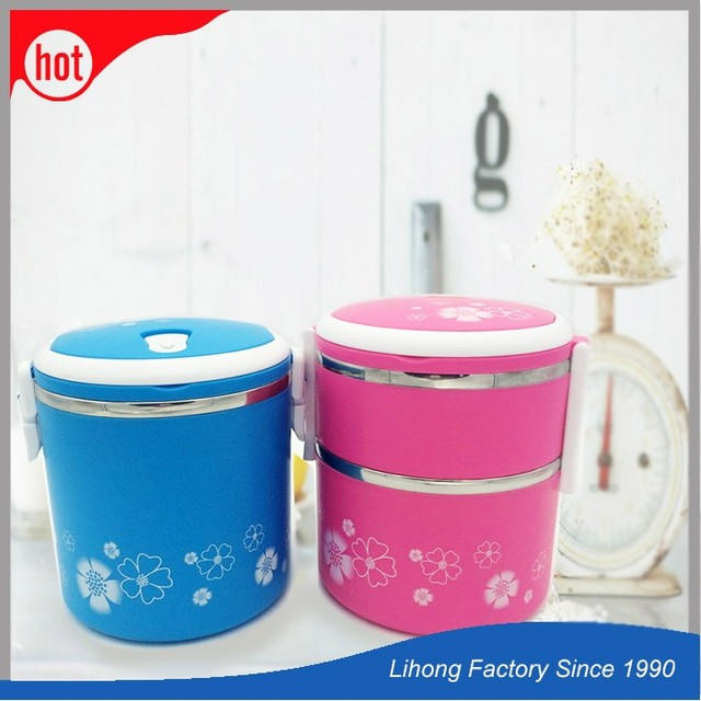 2017 new selling easy open plastic food container steel lunch box