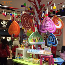 Fiberglass candy tree decoration with fiberglass candy tree for storefront theme decor