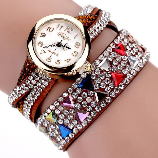 Duoya Brand Bracelet Wristwatch Women Luxury Rhinestone Popular Lady Female Dress Cheap Electronic Quartz Watches Women