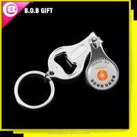 Nail clipper keychain with bottle opener function