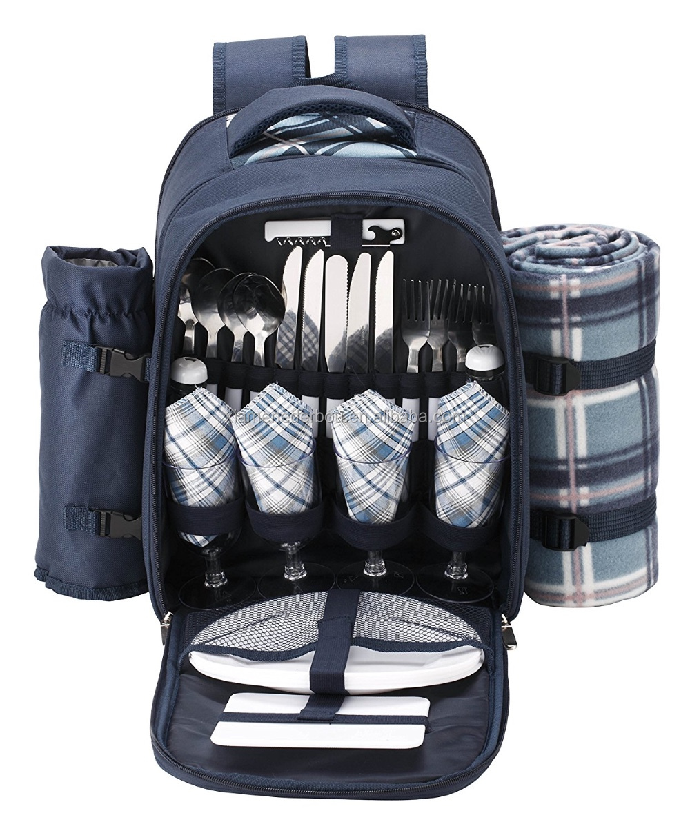 4 Person Blue Tartan Picnic Backpack With Cooler Compartment, Detachable Bottle/Wine Holder, Fleece Blanket, Flatware and Plates