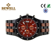 Alibaba China suppliers Factory Price Bewell Japan Multifunctional Movement quartz wrist mens Wooden Watch