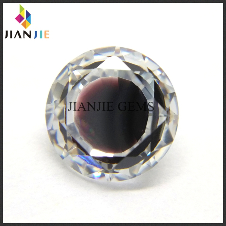 Factory Wholesale Price Dark Brown and White Two Mixed Colors CZ Synthetic Gem Round Cubic Zirconia Stone