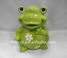 Ceramic frog shaped candy box, cookie box/jar, home decoration.