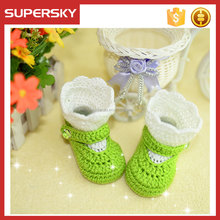 K947 Baby Girls Hand Crochet Ribbon Boot Bootie Lace Trim Baby Floor Shoes