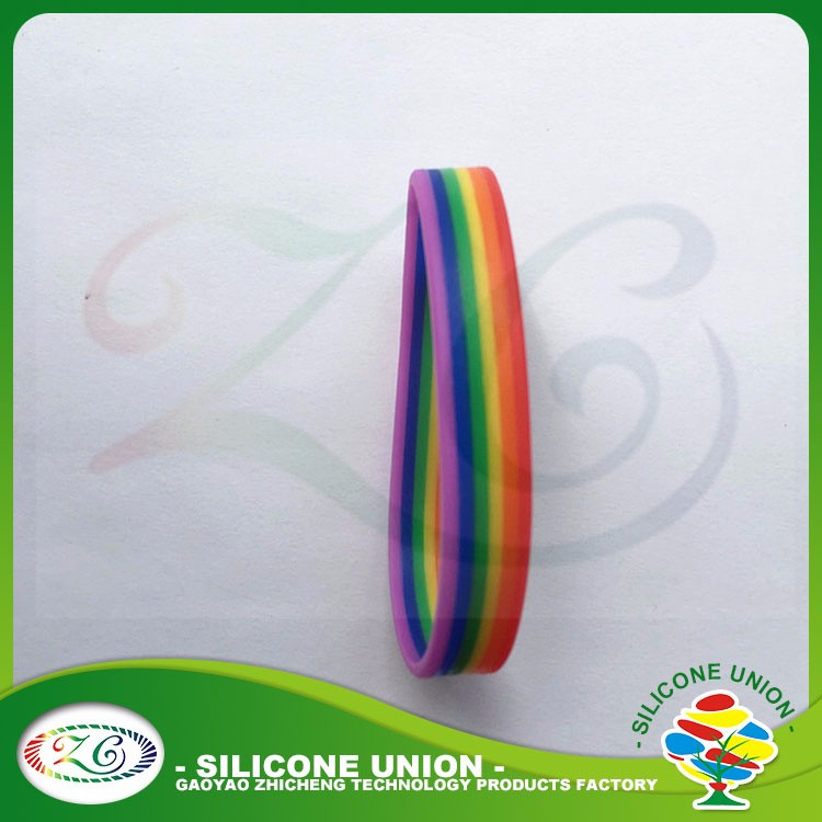 Custom logo bangles/ rainbow silicone wristband with color filled /silicone bracelet bangle