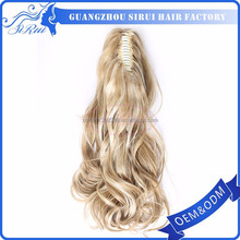 Synthetic hair ponytails russian hair extension weft, russian kinky curly hair extension, russian micro ring hair extension