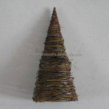 Rough rattan woven round cone small Christmas tree for decor