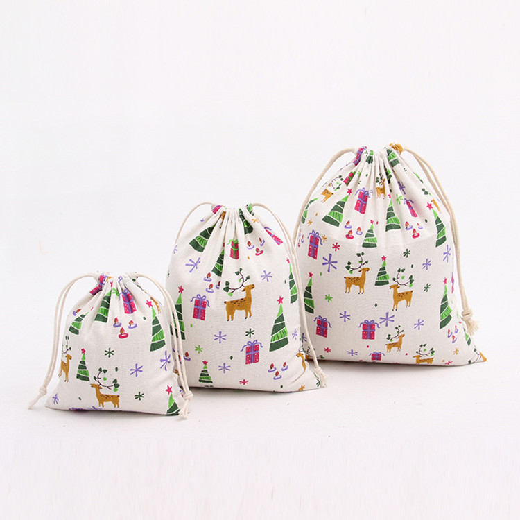 2018 cute full printing cotton christmas drawstring gift <strong>bag</strong>