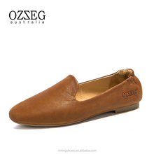 OZZEG Australia brand 100% handmade cow leather girls shoes soft slip-on moccasins women