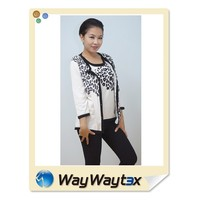 100% Cotton Cardigan Vest Print Pattern Woman Knit Sweater Made in China