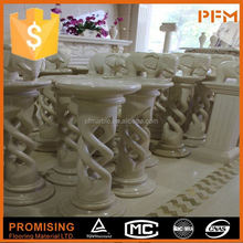 2015 new design well polished natural marble stone wholesale ornamental stone driveway pillars
