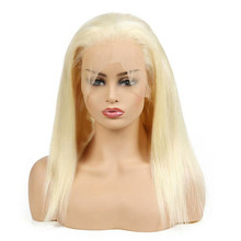 8-26 Inch 130% Density 613 Human Hair Lace Front Full Lace Blonde Wig
