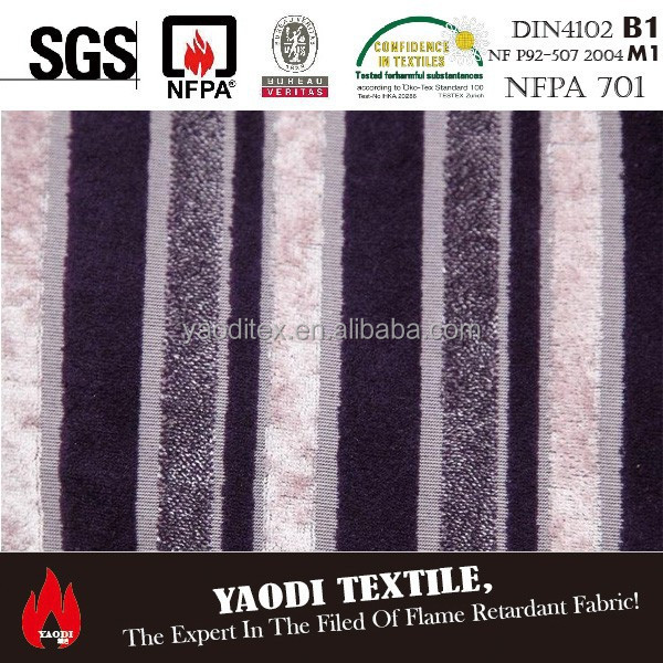 Luxury 100 polyester fire resistant striped upholstery fabric for sofa