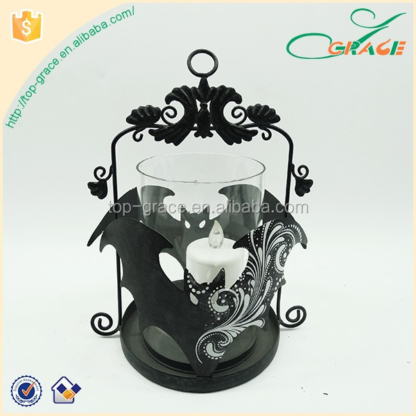 Bat shaped hanging tealight metal candle holder for halloween decoration